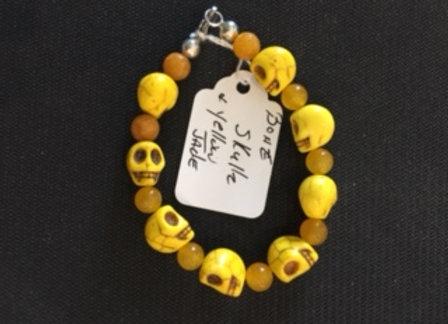 Yellow Bone Skull & Jade Bracelet