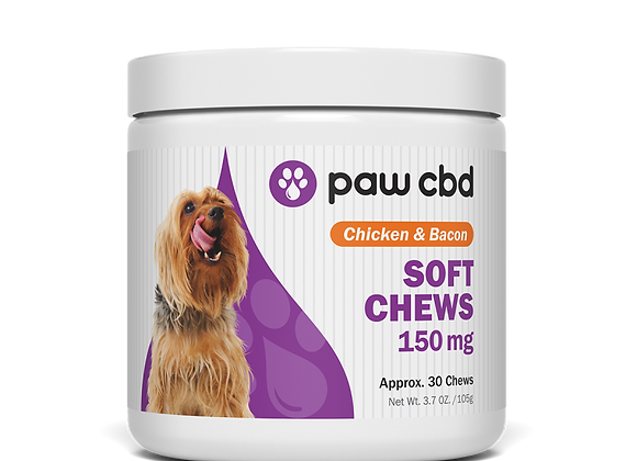 CBD Dog Soft Chews 150mg 30ct Chicken & Bacon flavor