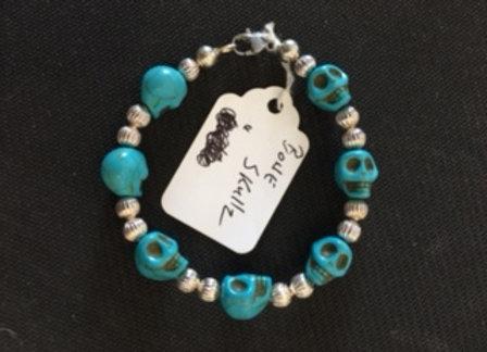 Turquoise Bone Skull Bracelet
