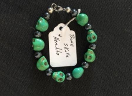 Green Bone Skull Bracelet
