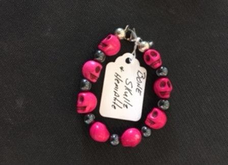 Pink Bone Skull & Hematite Bracelet
