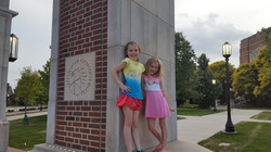 Image of Brady's daughters on Purdue campus