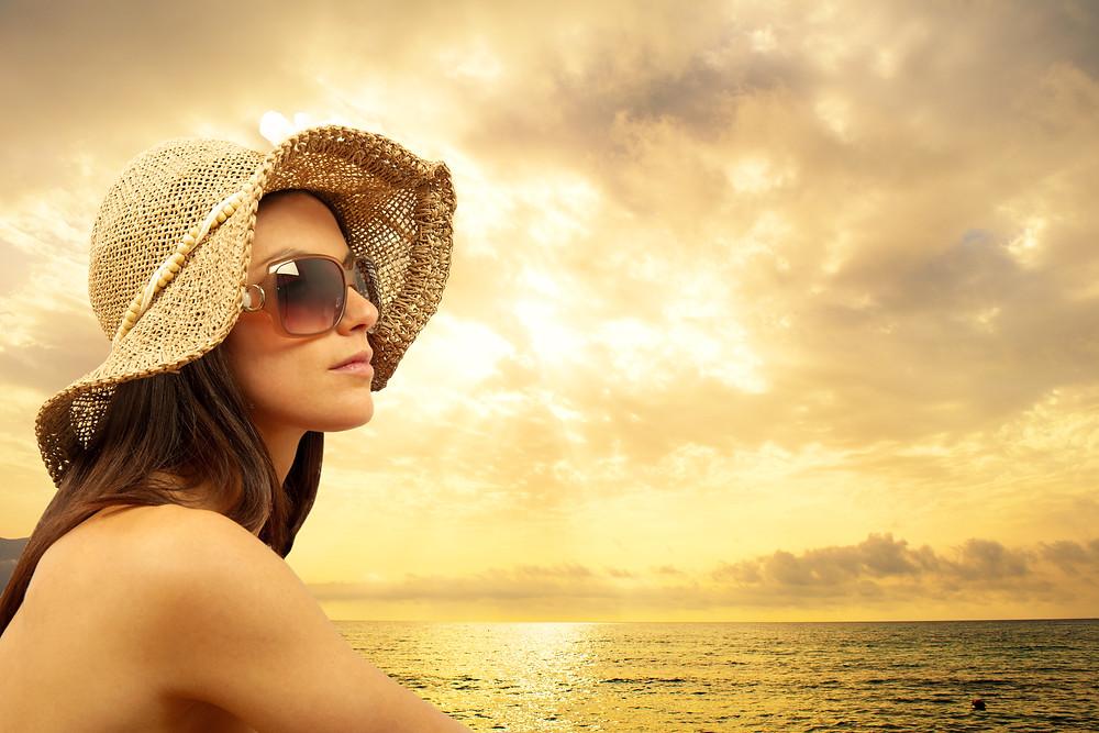 Uso de óculos escuros contra raios UV