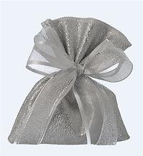 Saccotto Simil Pelle Argento Porta Confetti | Piccolo