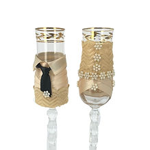 Coppia Bicchieri Sposi decorato   Hand Made Collection
