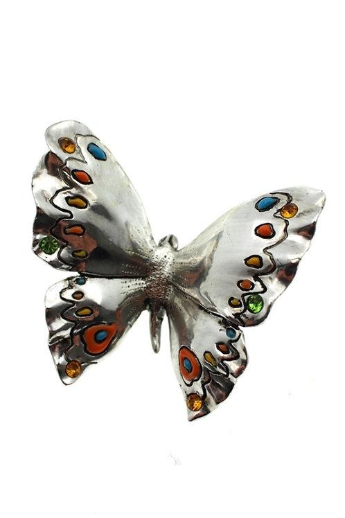 Farfalla Argentata con ali colorate