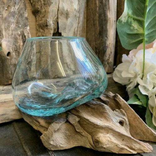 terrarium glass with log (empty)