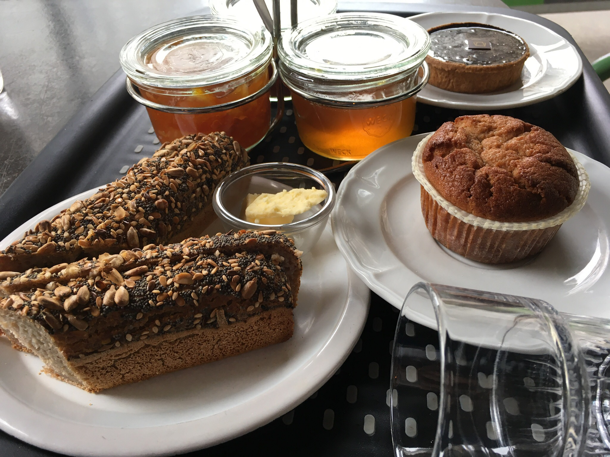 Assorted gluten-free breads and jams