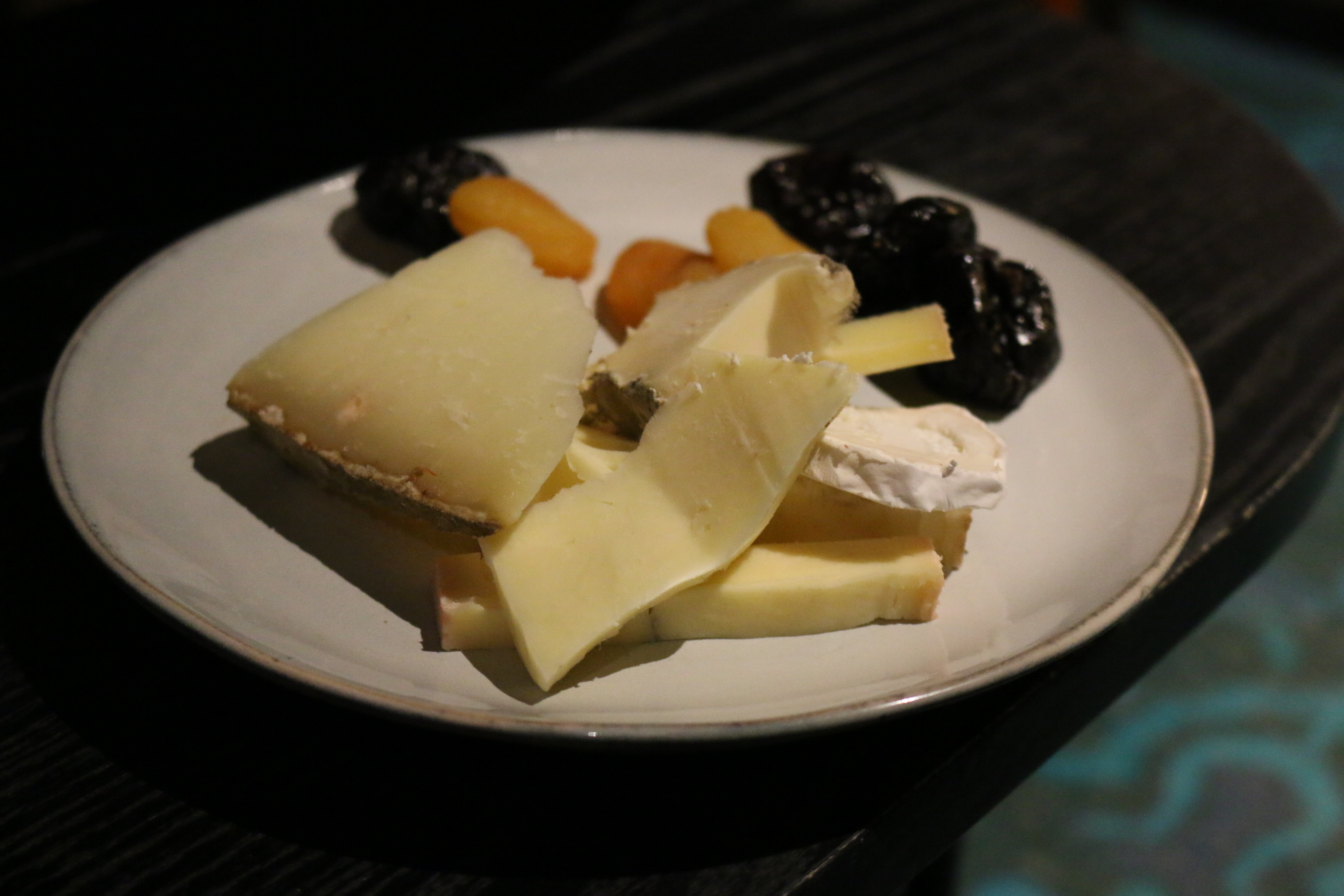 Assorted cheeses and dried fruit