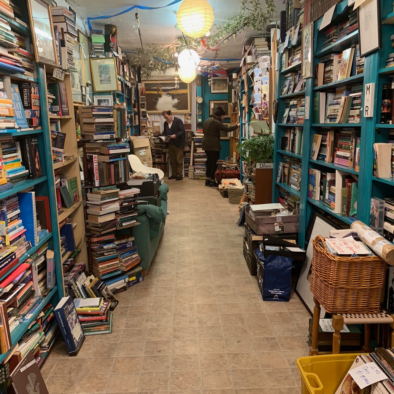 Looking for literary treasures in John's Bookshop.