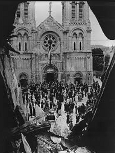 French civilians in front of Notre-Dame de Paris during the Nazi Occupation