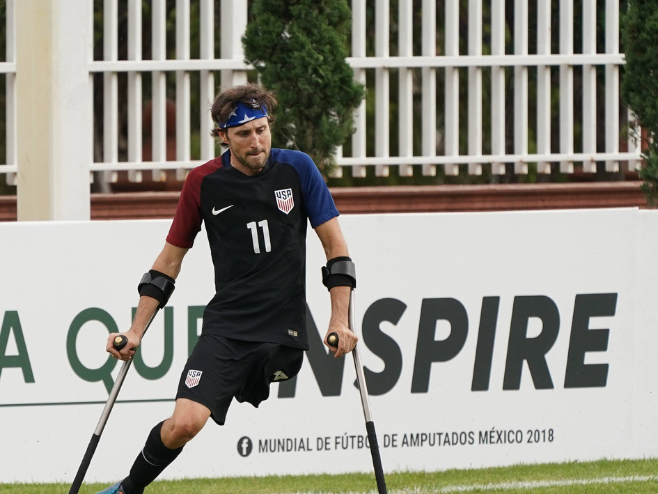 Josh defends Team USA at the 2018 Amputee Football World Cup