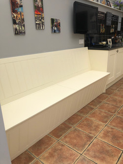 Painted bench seating