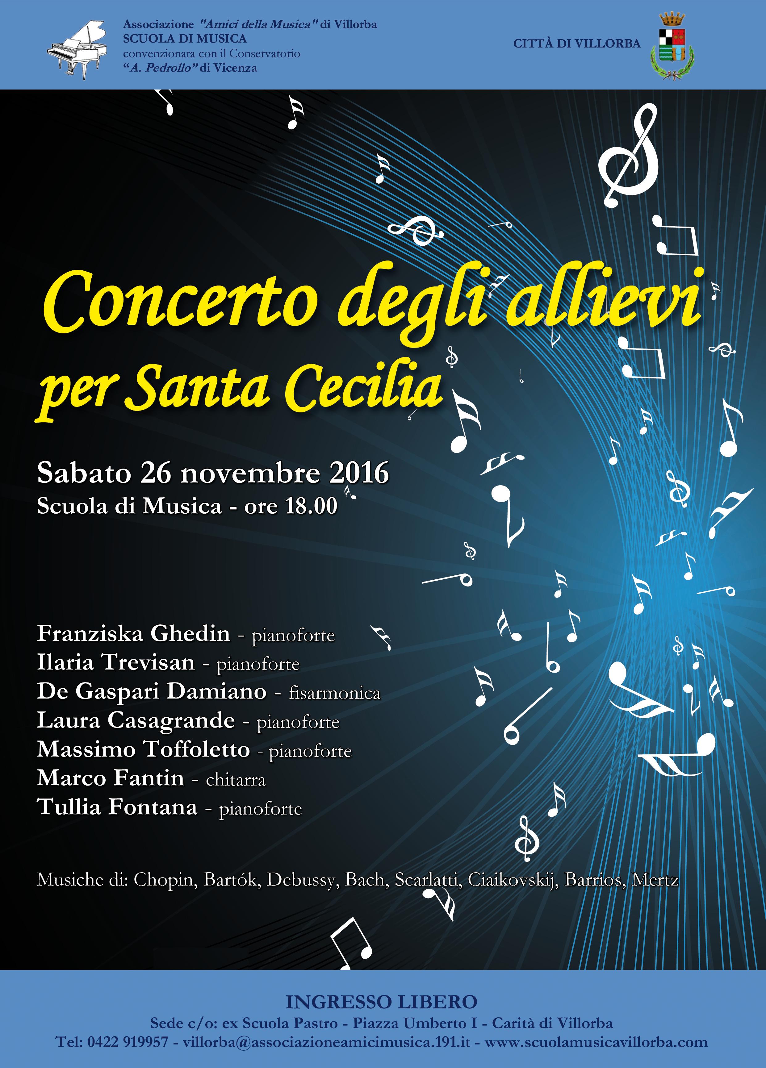 concerto degli allievi per Santa Cecilia 26 -11- 2016