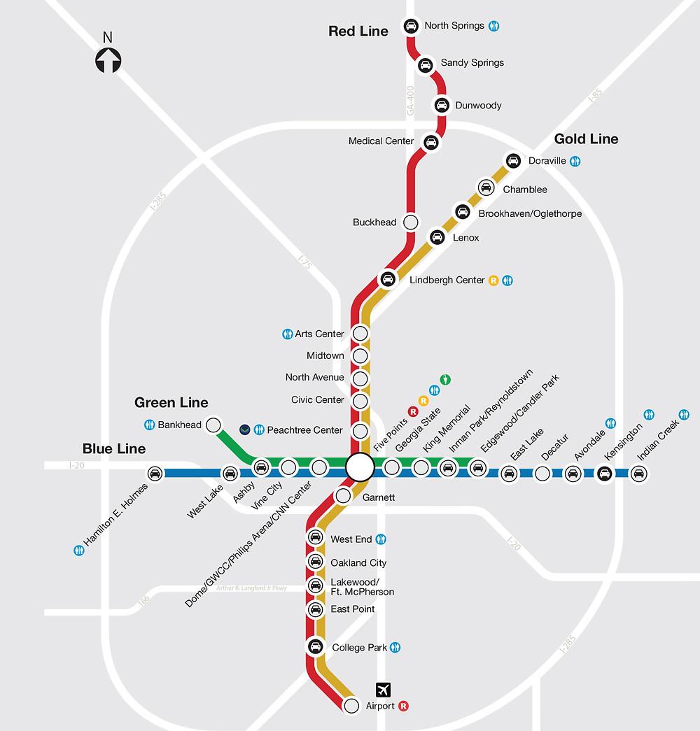 map of Atlanta's MARTA system