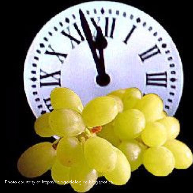 grapes and clock striking midnight