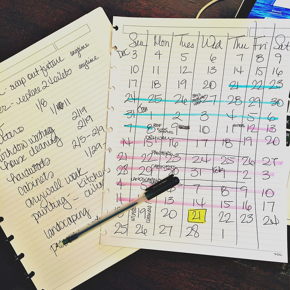 working backwards calendar and list of to-dos