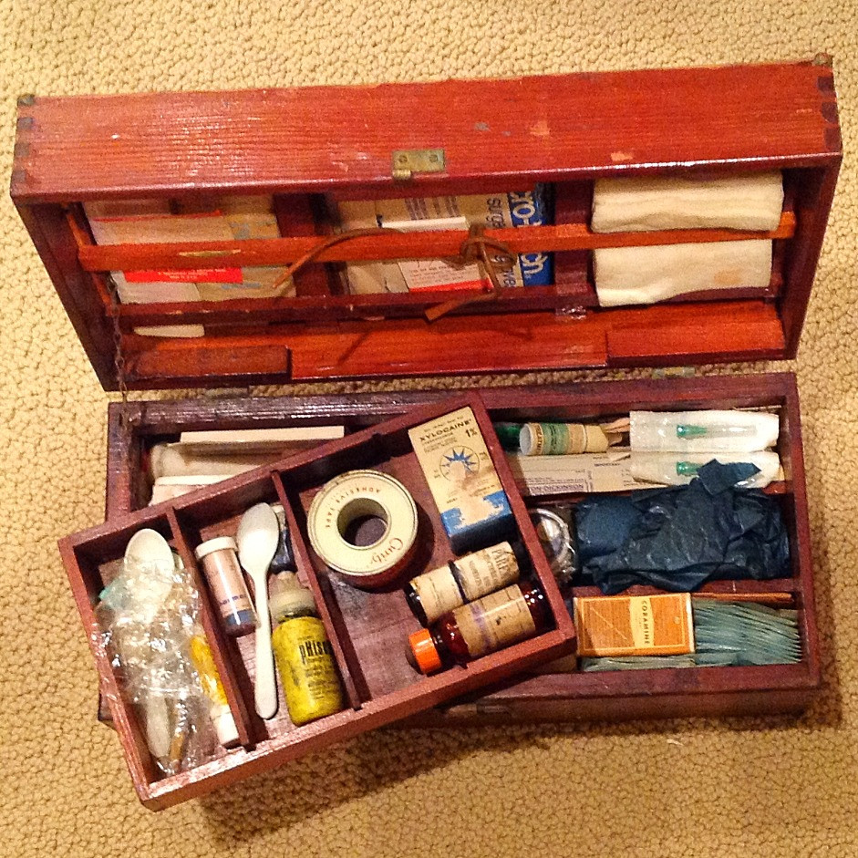 wooden medical kit from WWII