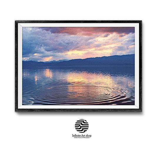 Sunset Wall Art ,Digital Download,Nature Landscape Photography,Clouds Wall Art,Ohrid Lake Print,