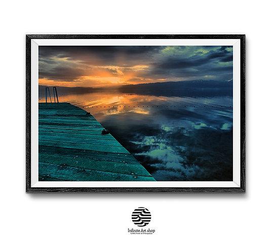 Sunset Wall Art Print , Digital Download,Sun Rays,Lake Print,Ohrid Lake Sunset Photography,Trendy Wall Art,