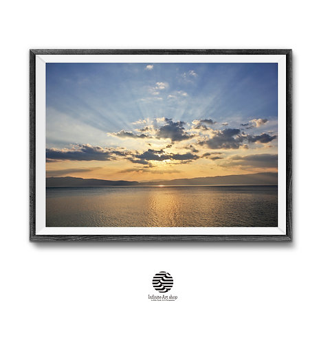 Sunset Wall Art Print,Ohrid Lake,Clouds Wall Art,Rays Of the Sun,