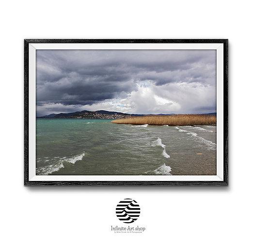 Coastal Photography,Dark Clouds Wall Art Print,Ohrid Lake,Reed Wall Art,Waves Wall Art,Digital Download,