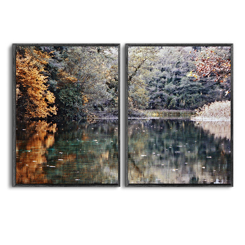 Set of 2 Fall Wall Art,Nature Landscape Print,Tree Branches Print,Digital Download,Autumn Colorful Leaves,