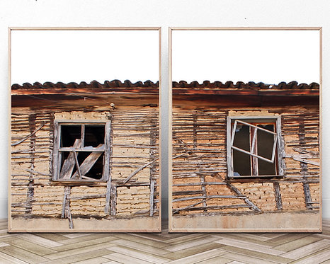 Old Rustic Windows,Vintage Windows print,Retro building photography, Old architecture,Brick Building Photo,Brick Wall,Vintage