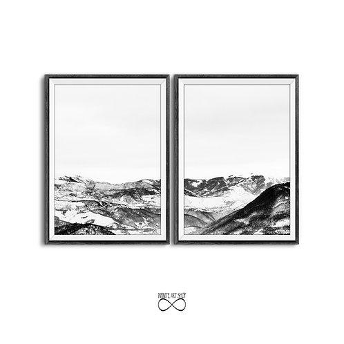 2 Piece Snow Mountain Print, Black and White Photography, Modern Minimalist Scandinavian,