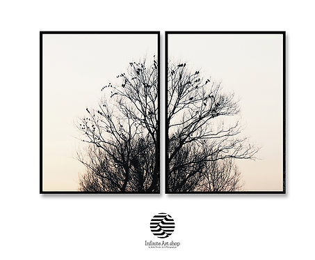 Set of 2 Birds Prints,Birds on Branches,Tree Branches Photography,Nature Landscape Print,Digital Download,Trendy Art Print