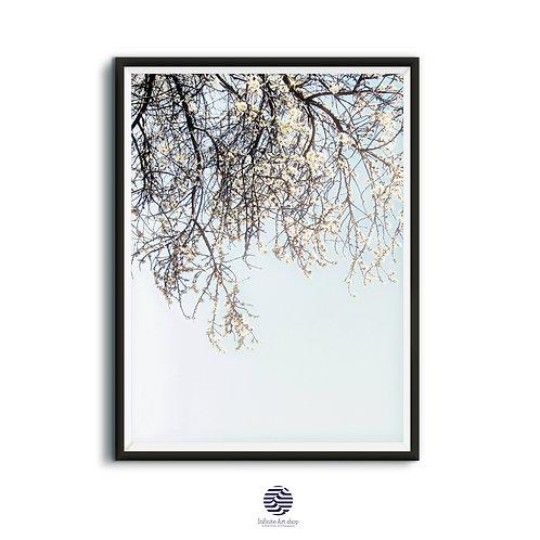 Spring Blossom Print,Botanical Wall Art,Minimalist Branches Print,Season.