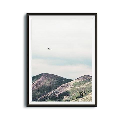 Minimalist Mountain Print Download,Nature Landscape Print,Green Mountain Wall Art,Flying Bird,Modern Minimalist Poster