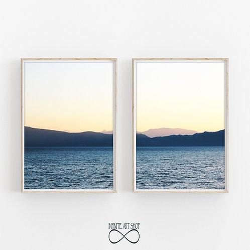 Set of 2 Sunset Prints,Sunset Wall Art,Sunset Print,Scandinavian Print,