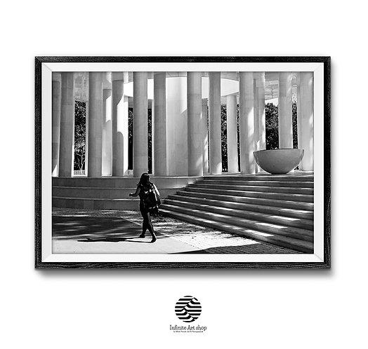 Black and White Street Photography,Pillars Print,Fine Art,Stairs Wall Art Print,Digital Download,Trendy Wall Art Print.
