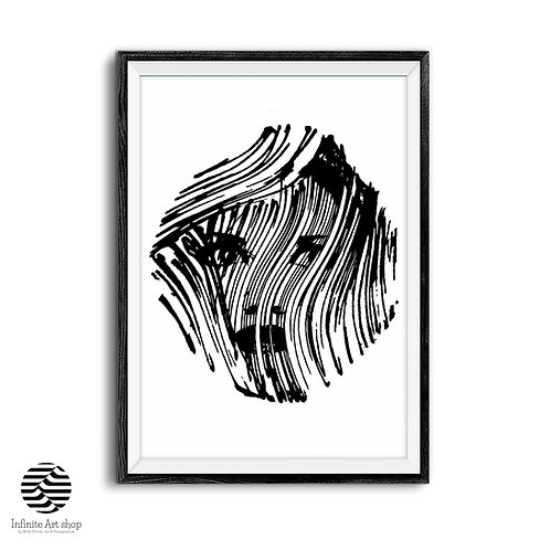 Line Drawing Woman Face,Modern Minimalist Black and White Print,Abstract Portrait Print,Digital Download,Trendy Art print.
