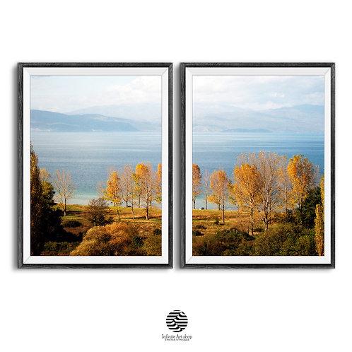 Set of 2 Nature Landscape Wall Art Prints,Fall Wall Art,Tree Wall Art Prints,Coastal Print,Ohrid Lake Print,