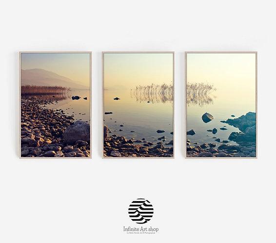 Printable Set of 3 Sunset Wall Art Print,Beach Print,Coastal,Reed Print,Ohrid Lake,Rocky Beach Print,Color Sunset Photography