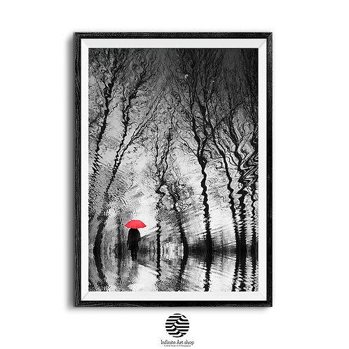 Red Umbrella,Surreal Artwork,Fantasy Art Print,Rainy Mood Artwork,Digital Download,Trendy Wall Art Print.