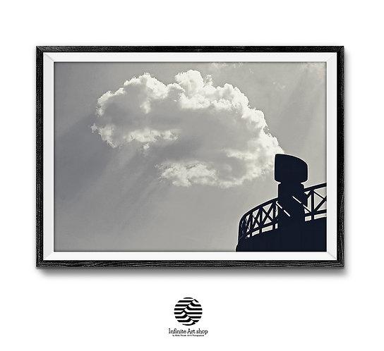 Minimalist Fine Art Photography,Black and White Wall Art,Clouds Wall Art,Horizontal Clouds wall art,Digital Download,Trendy .
