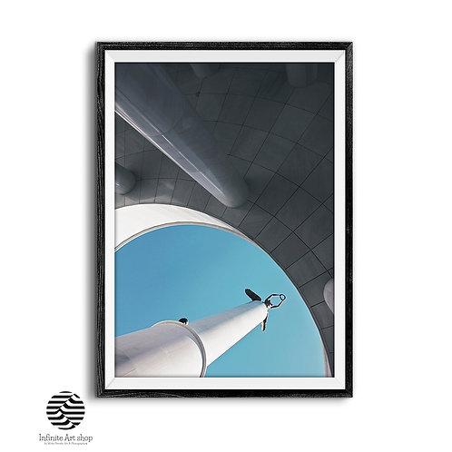 Blue Architecture Print,Vintage Monument Pillars Photography,Sculpture Fine Art Print,Digital Download,Trendy Art Prints.