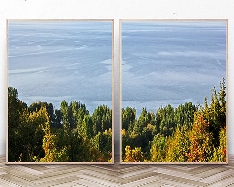 Set of 2,Nature Landscape Photography,Instant download,Lake Print