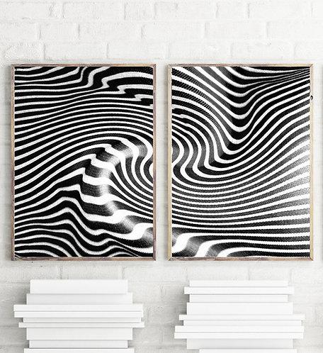 Zebra Abstract Art Print,Black and White Set of 2 Artwork,