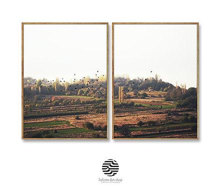 Fall Landscape Photography,Set of 2 Flock of Birds Prints,Simple Field Landscape Print,Nature Wall Art Print,Printable