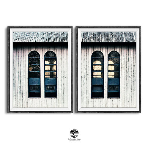 Vintage Windows Photos,Set of 2 Old Windows,Retro Architectural Print.