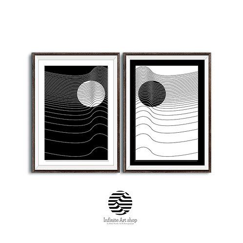 Minimalist Art,Set of 2 Modern printable wall art,Geometric Artwork,Black and White Poster,Digital Download,Trendy Art Print.