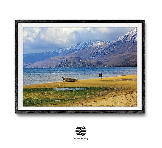 Color Landscape Photography,Coastal Wall Art,Mountain Fine Art Print,Ohrid Lake Photography,Digital Download,Trendy Prints