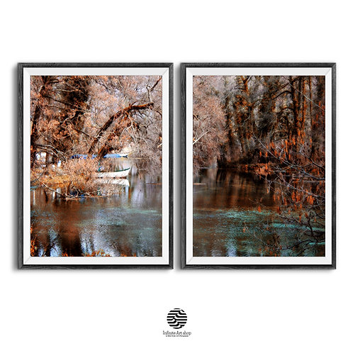 Fall Wall Art,Set of 2 Autumn Landscape Prints,Tree Branches Wall Art,Fairy Tale Prints,Magic Black Drim Springs,Boat Print,D
