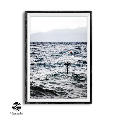 Coastal Wall Art,Lake Print,Beach Photography,Bird Prints,Lake Waves Printable.Water,Digital download,Trendy