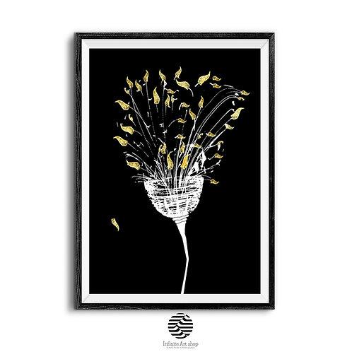 Dry Gold Flower Art Print,Digital Artwork,Minimalist Wall Art Print,Dark Botanical Print,Digital Download,Trendy Wall Art,