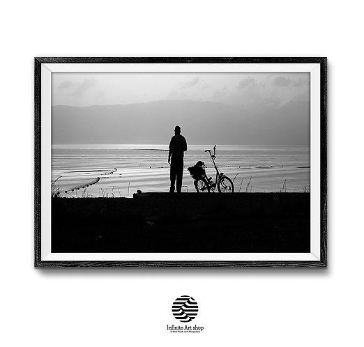 Fisherman Silhouette Photography,Minimalist Sunset Print,Black and White Fine Art Print,Fisherman Print,Digital Download,